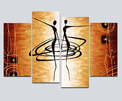 Wieco Art Large 4 Piece Modern Stretched And Framed Giclee Canvas Prints  Abstract African Figures Dancing
