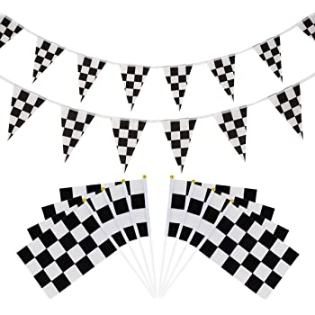 U  star 50 Pieces Checkered Flags 8 x 5.5 Inch Racing Flag Hand Held Stick  ... edd75a0629