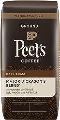 Peet's Coffee, Peetnik Pack, Major Dickason's Blend, Dark Roast, Ground Coffee, 20 oz. Bag, Rich, Smooth, and Complex Dark Roast Coffee Blend With A Full Bodied and Layered Flavor