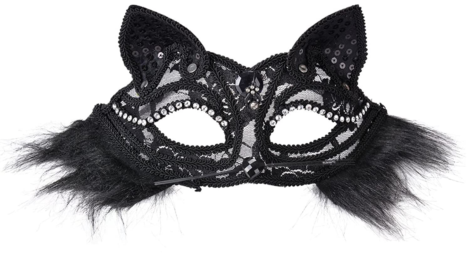 Amazon.com: Sexy Cat Masquerade Mask with Cute Black Lace Cat Ears ...