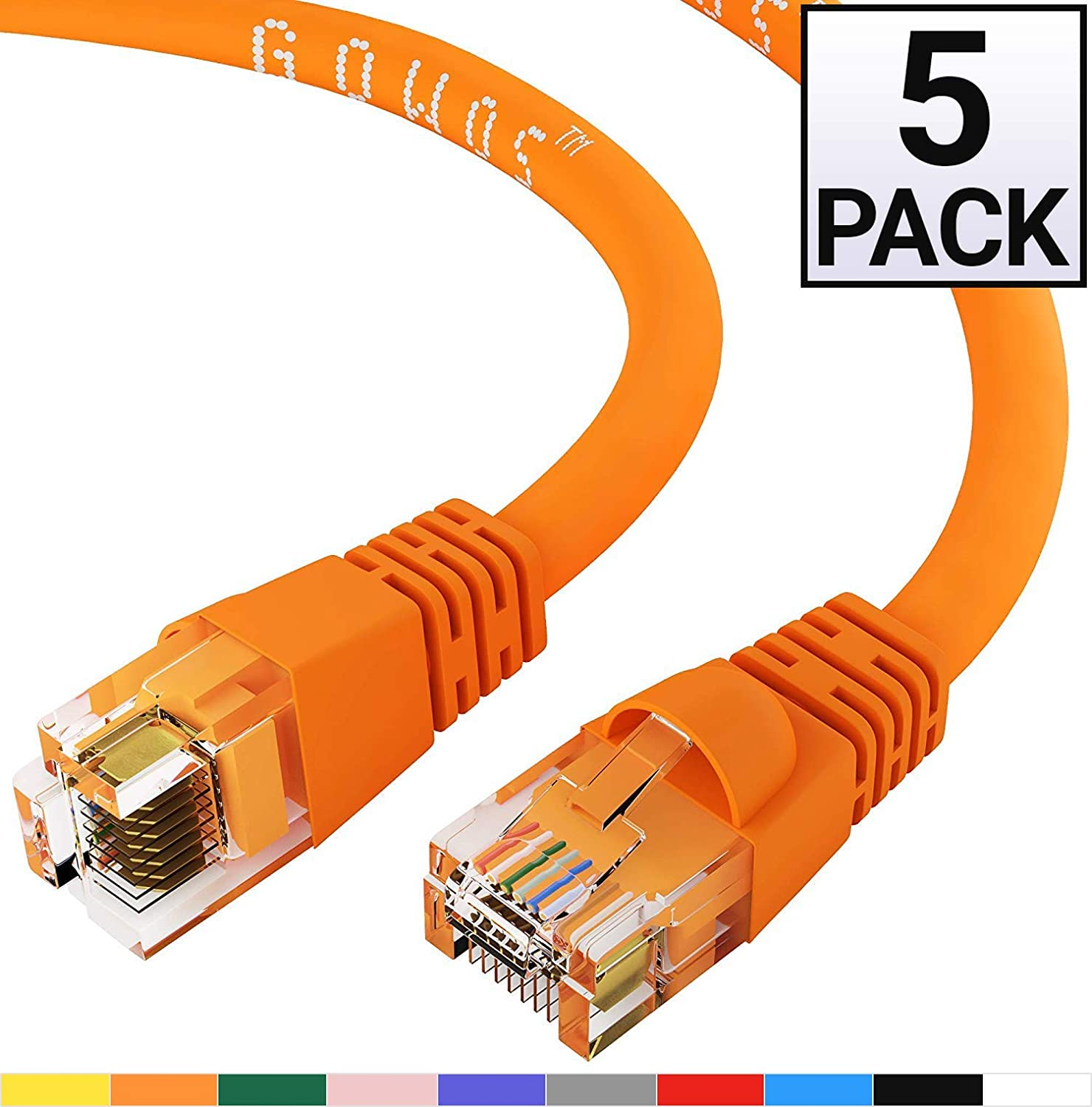 UTP Available in 28 Lengths and 10 Colors Cat6 Ethernet Cable 4 Feet - Green RJ45 10Gbps High Speed LAN Internet Patch Cord GOWOS 10-Pack Computer Network Cable with Snagless Connector
