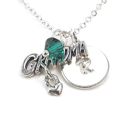 amazon com personalized grandma necklace with swarovski birth month
