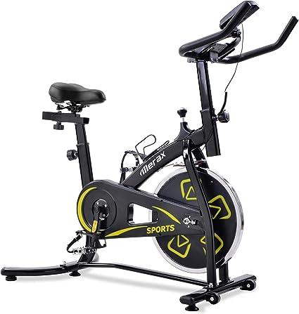 Bicicletas Estáticas de Spinning Ajustables Bicicleta Fitness Pantalla LCD, Bicicleta de Ejercicios Aeróbicos Sport para Interiores Entrenamiento Ejercicios Cardiovasculares [EU Stock] (Amarillo): Amazon.es: Deportes y aire libre