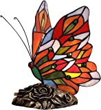Bieye L40043 Butterfly Tiffany Style Stained Glass Accent Table Lamp (Multi-Colored F)