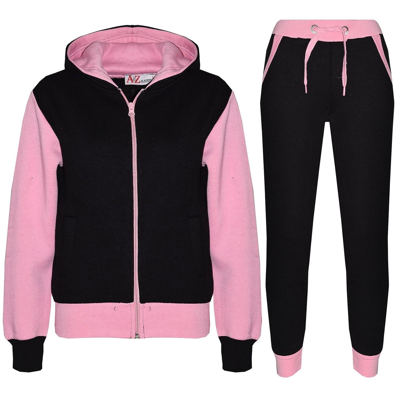 A2Z 4 Kids® Kinder Trainingsanzug Mädchen Jungen Designer Plain Kontrast Baby Rosa Vlies Kapuzenpullover Untere Jogginganzug Jogger Alter 2-13 Jahre