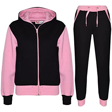 d1b1494bcb7 Amazon.com: Kids Tracksuit Girls Boys Fleece Hooded Hoodie Bottom Jogging  Suit Jogger 2-13Yr: Clothing