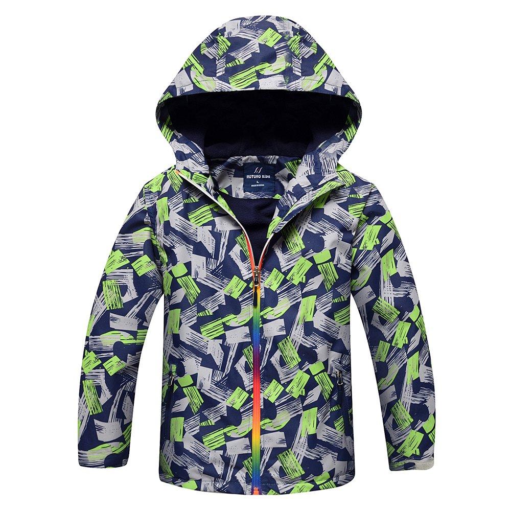 Echinodon Boys Fleece Lined Jacket with Hood Windproof Water-Repellent Breathable Outwear Jacket