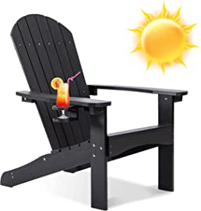 Adirondack Chair Weather Resistant, Black Outdoor Patio Chair, Lifetime Adirondack Chairs with Cup Holder, 350LBS Modern Adirondack Chair, Polywood Plastic Adirondack Chairs for Patio, Law, Garden