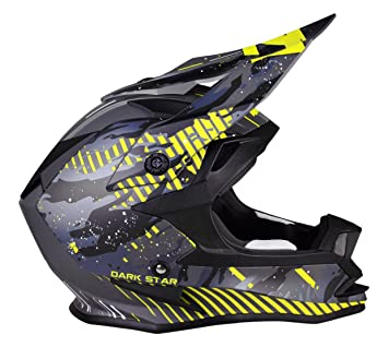Lazer MZE600060820L Lzr Or1 Dark Star Casco Integral Mx, Gris/Amarillo Fluo/Matt