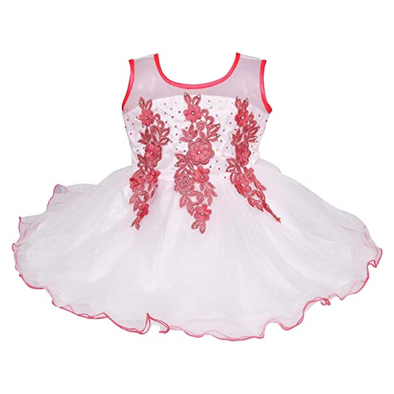 983e86595db9 Wish Karo Baby Girls Net Party Wear Frock Dress - (bxa053 - White & Red