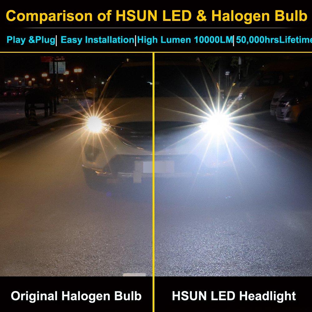 Hsun H4 9003 Led Headlight Bulb10v 48v Voltage Can Diagram Also 2006 Honda Ridgeline Bulbs On Install In 12v Cars Or 24v Truck10000 Lumens Extremely Super Bright2 Pack6000k