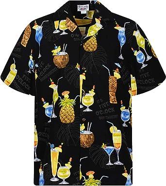 Pacific Legend | Original Camisa Hawaiana | Caballeros | S - 4XL | Manga Corta | Bolsillo Delantero | Estampado Hawaiano | Cóctel | Negro: Amazon.es: Ropa y accesorios