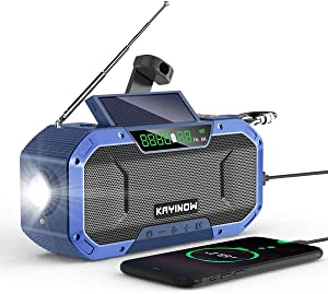 Hand Crank Solar Emergency Radio,IPX5 Waterproof NOAA Weather Alert Radio,5000mAh Portable Auto Scan AM/FM Radio with Cell Phone Charger,3W Flashlight&Reading Light,Compass,SOS for Home and Outdoor