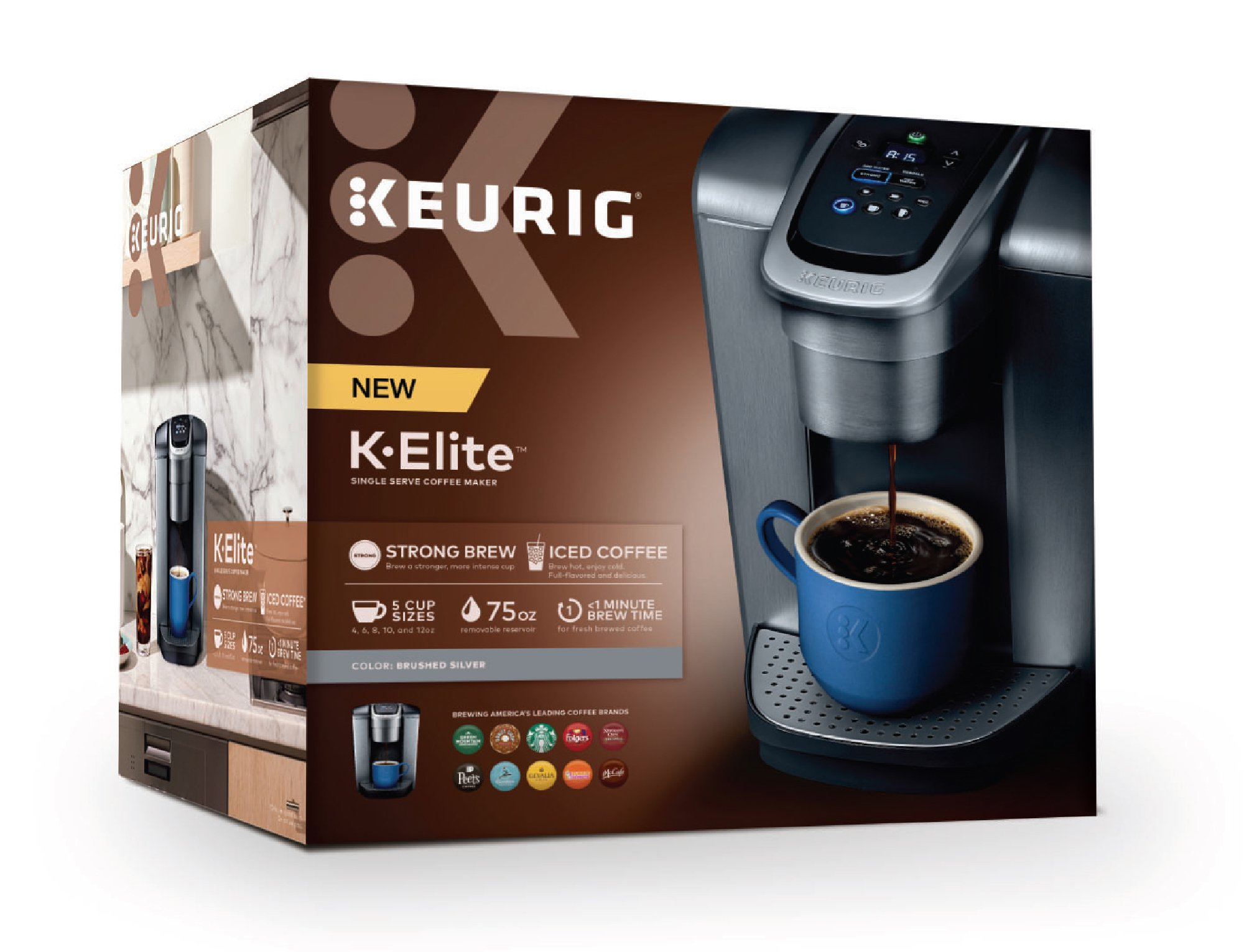 Keurig K-Elite K Single Serve K-Cup Pod Maker, with Strong Temperature Control, Iced Coffee Capability, 12oz Brew Size, Programmable, Brushed Silver by Keurig (Image #13)