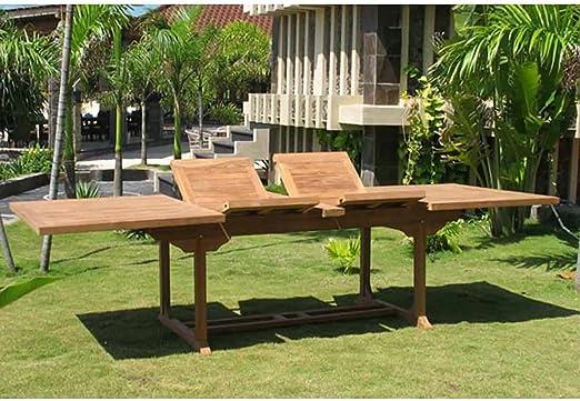 OUTLIV. Mesa extensible de jardín Ontario, mesa de jardín extensible de madera de teca 195/295 cm, mesa de terraza resistente a la intemperie: Amazon.es: Hogar