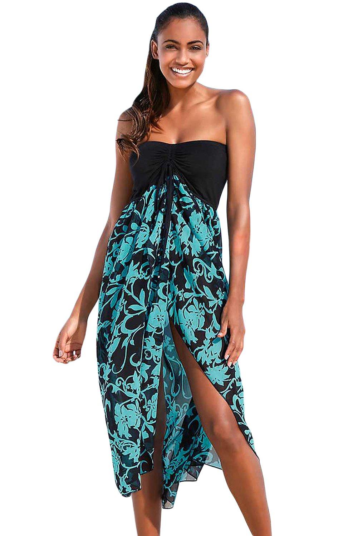 Eiffel Women's Boho Chiffon Off Shoulder Vacation Holiday Summer Beach Long Maxi Dress Swimwear (Large, Black Turquoise)