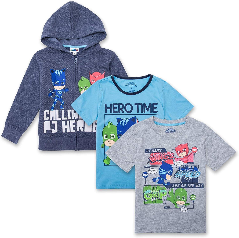 1 Hoodie /& 2 PJ Masks T-Shirts Featuring Catboy PJ Masks Hoodie Combo Set Gekko /& Owlette