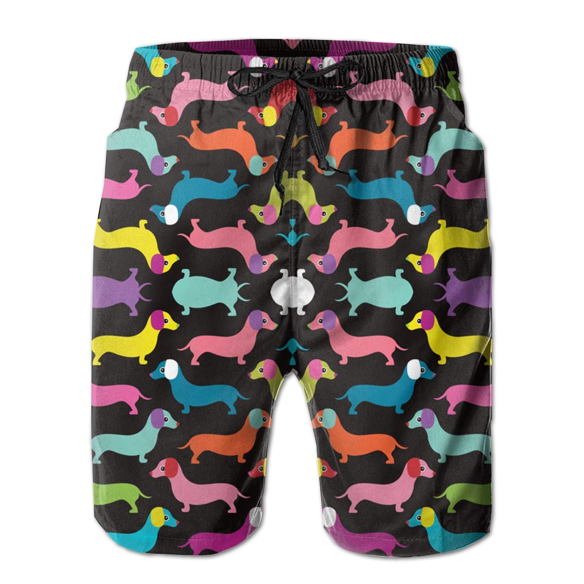 Pink Dogs On The Blue Cartoon with Dachshunds Print Swim Trunks Summer Beach Shorts Pockets Boardshorts for Men