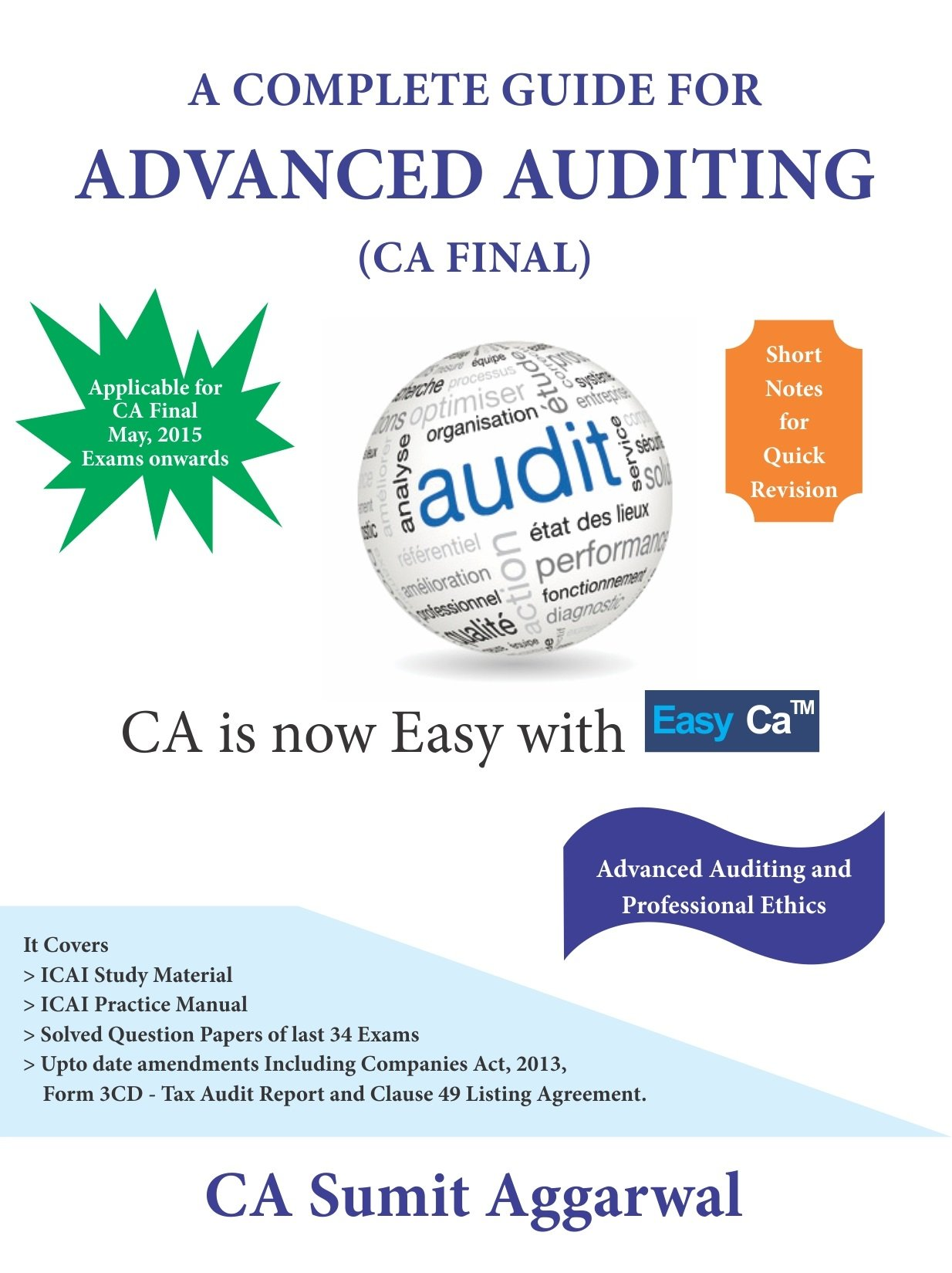 A Complete Guide for Advanced Auditing (CA Final): CA Sumit Aggarwal|CA  Amarjeet Chopra: 9789351964339: Amazon.com: Books