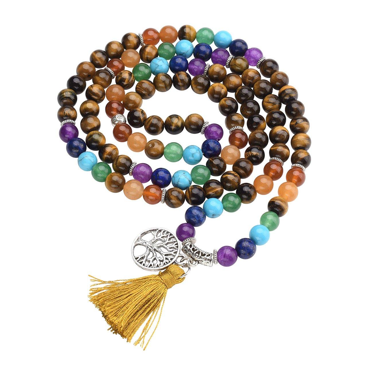 Jovivi 8mm Natural 7 Chakra Healing Crystal Tiger Eye Gemstone Buddhist Prayer 108 Beads Tibetan Mala Bracelet Necklace