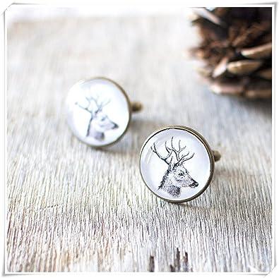 Stag Cufflinks Woodland Wedding Cufflinks Rustic Nature Cufflinks. Deer Cufflinks Forest Animal Cufflinks Vintage Bronze Cufflinks