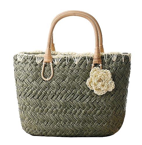 70a2f5710d Amazon.com  Tonwhar Handmade Cute Small Beach Tote Handbag Straw Woven Purse   Shoes