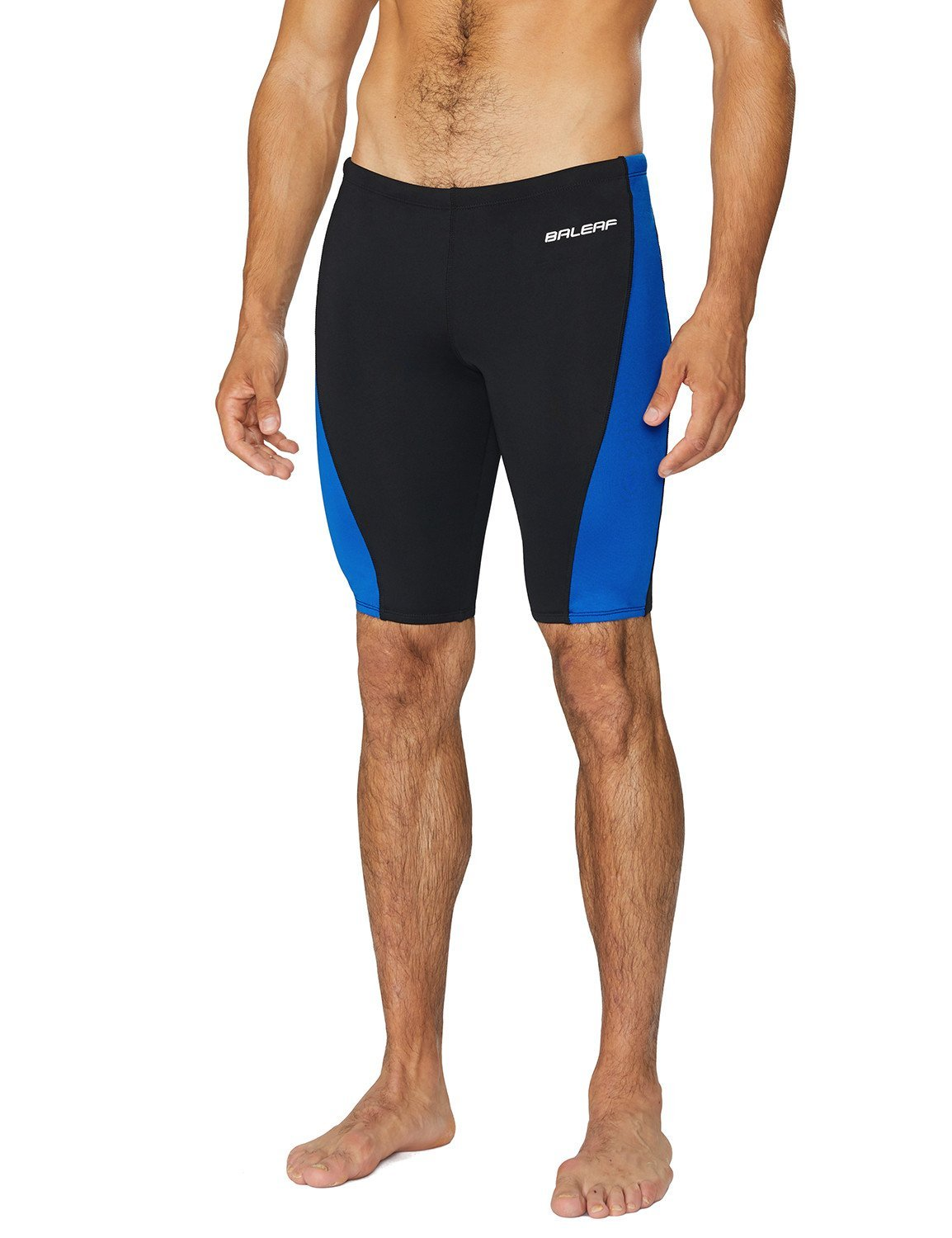 Baleaf Men's Durable Training Polyester Jammer Swimsuit Black/Blue Size 34
