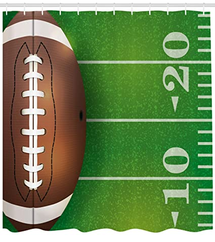 Lunarable Boys Room Shower Curtain American Football Field And Ball Realistic Vivid Illustration College