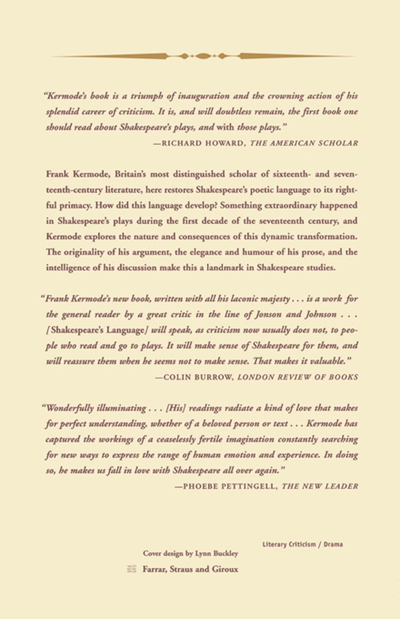 shakespeare s language amazon co uk frank kermode  shakespeare s language amazon co uk frank kermode 9780374527747 books