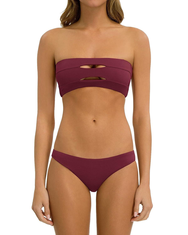 Bbalizko Womens Bikini Set Strapless Cut Out Push Up Padding Bandeau Swimwear Bathing Suit