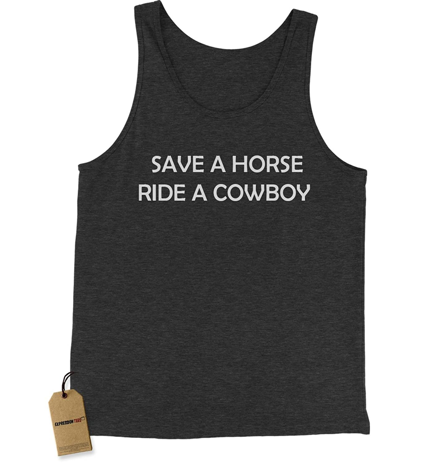 Expression Tees Save A Horse Ride A Cowboy Jersey Tank Top for Men