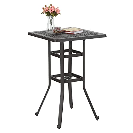 PHI VILLA 27.5 Cast Aluminum Patio Outdoor Frosted Surface Square Bar Height Bistro Table – 42 Pub Height