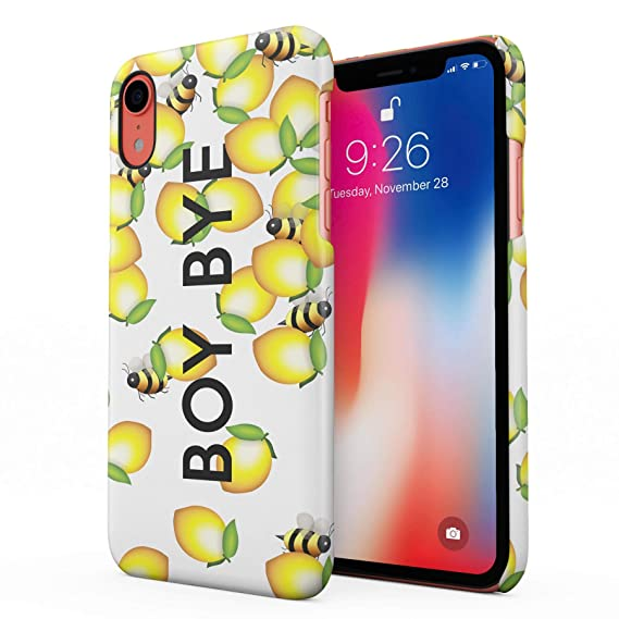 reputable site 66f16 7fb83 Boy Bye Cute Bumblebees & Lemons Hard Plastic Phone Case for iPhone Xr
