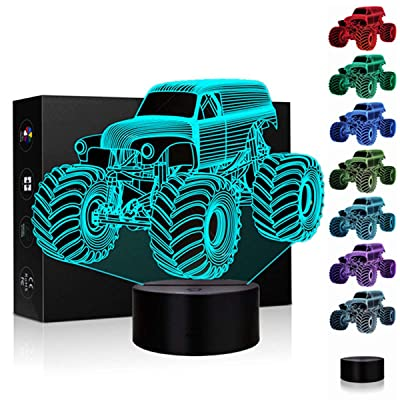 3D Illusion Lamp Night Light 7 Color Changing Touch Switch Table Desk Decoration Lamps Christmas Gift with Acrylic Flat & ABS Base & USB Cable Toy Gift (Monster Truck): Home Improvement