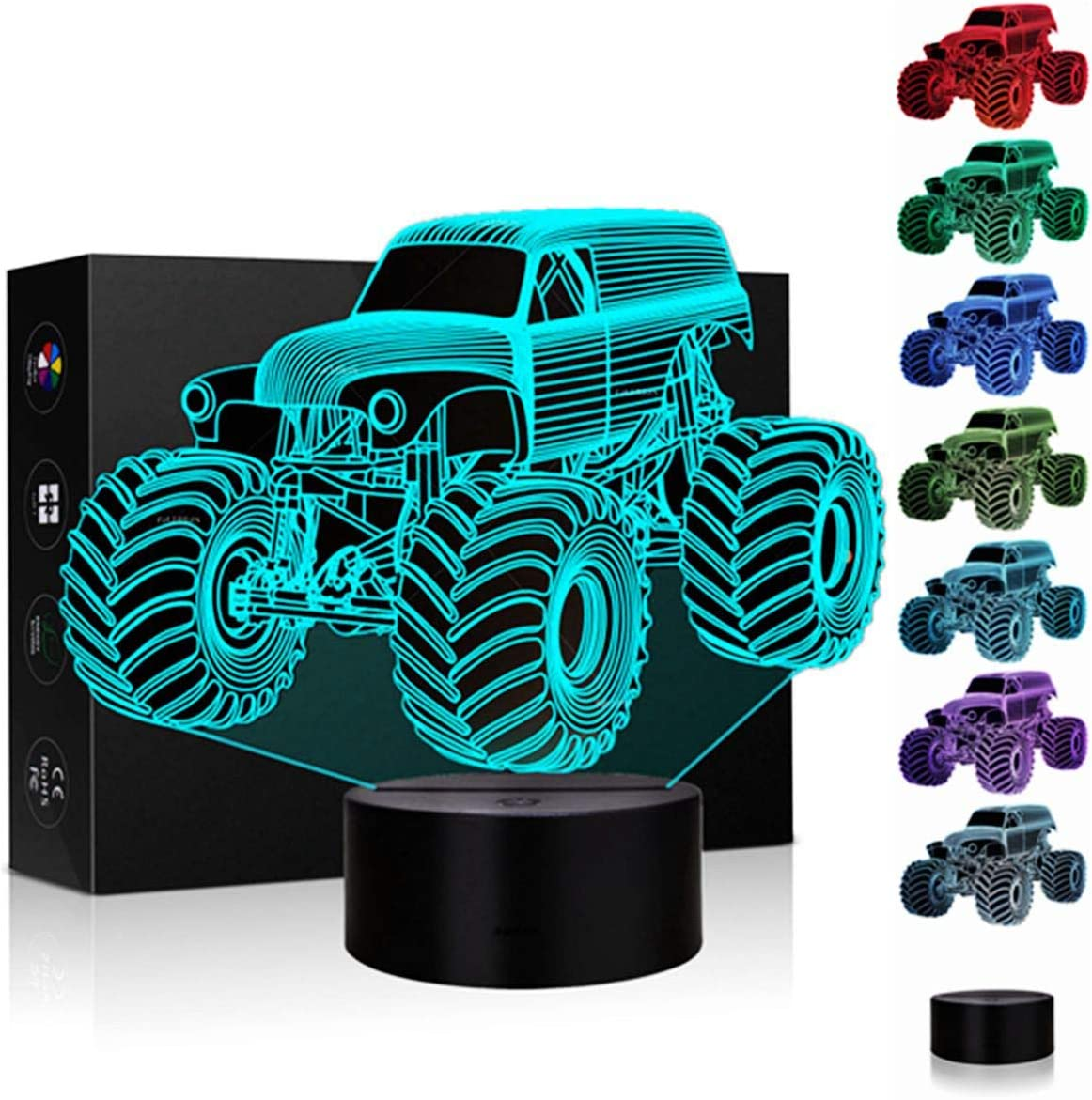 3D Illusion Lamp Night Light 7 Color Changing Touch Switch Table Desk Decoration Lamps Christmas Gift with Acrylic Flat & ABS Base & USB Cable Toy Gift (Monster Truck)