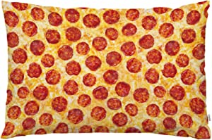 EKOBLA Throw Pillow Cover Pepperoni Cheese Pizza Fantasy Delicious Food Seamless Texture Design Circle Decor Lumbar Pillow Case Cushion for Sofa Couch Bed Standard Queen Size 20x30 Inch