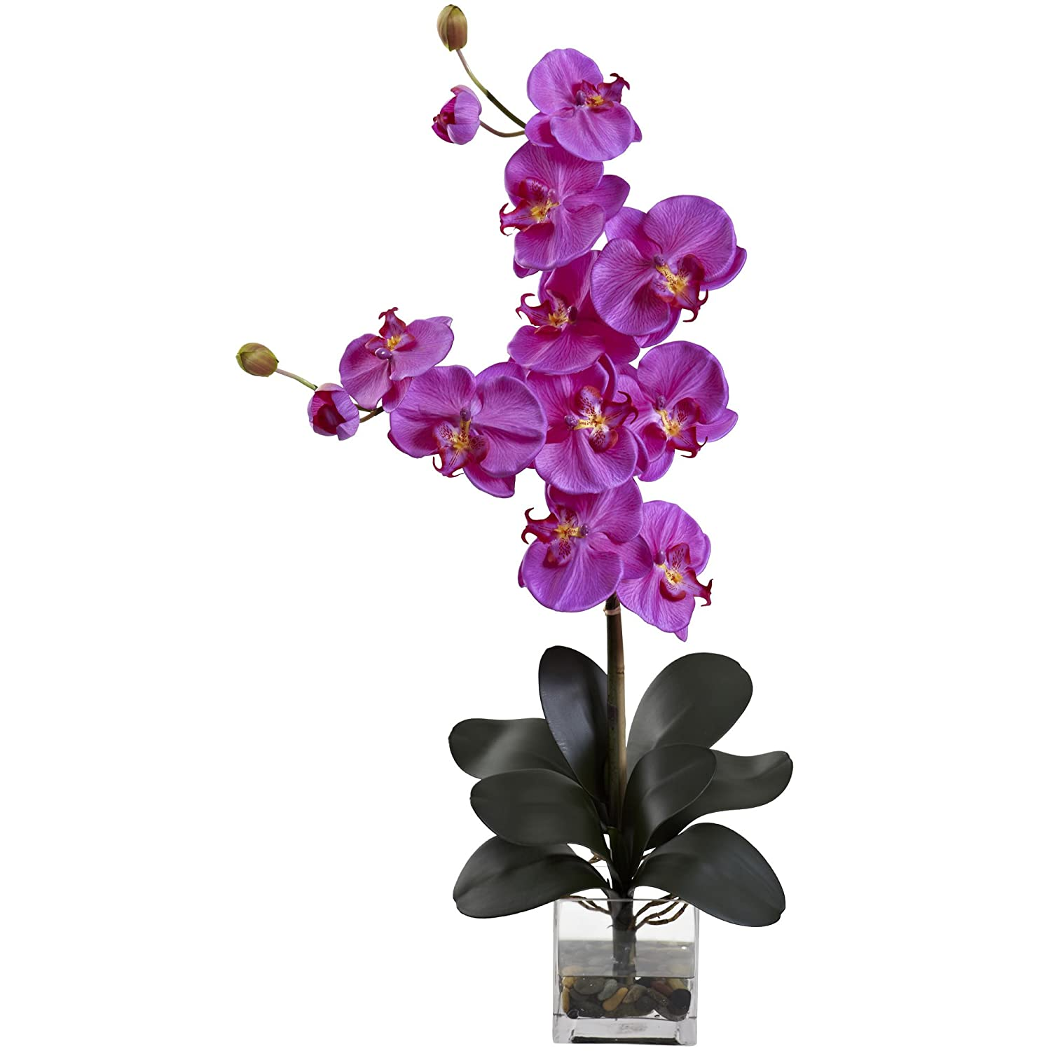 Nearly Natural 1352-WH Double Giant Phalaenopsis with Vase White