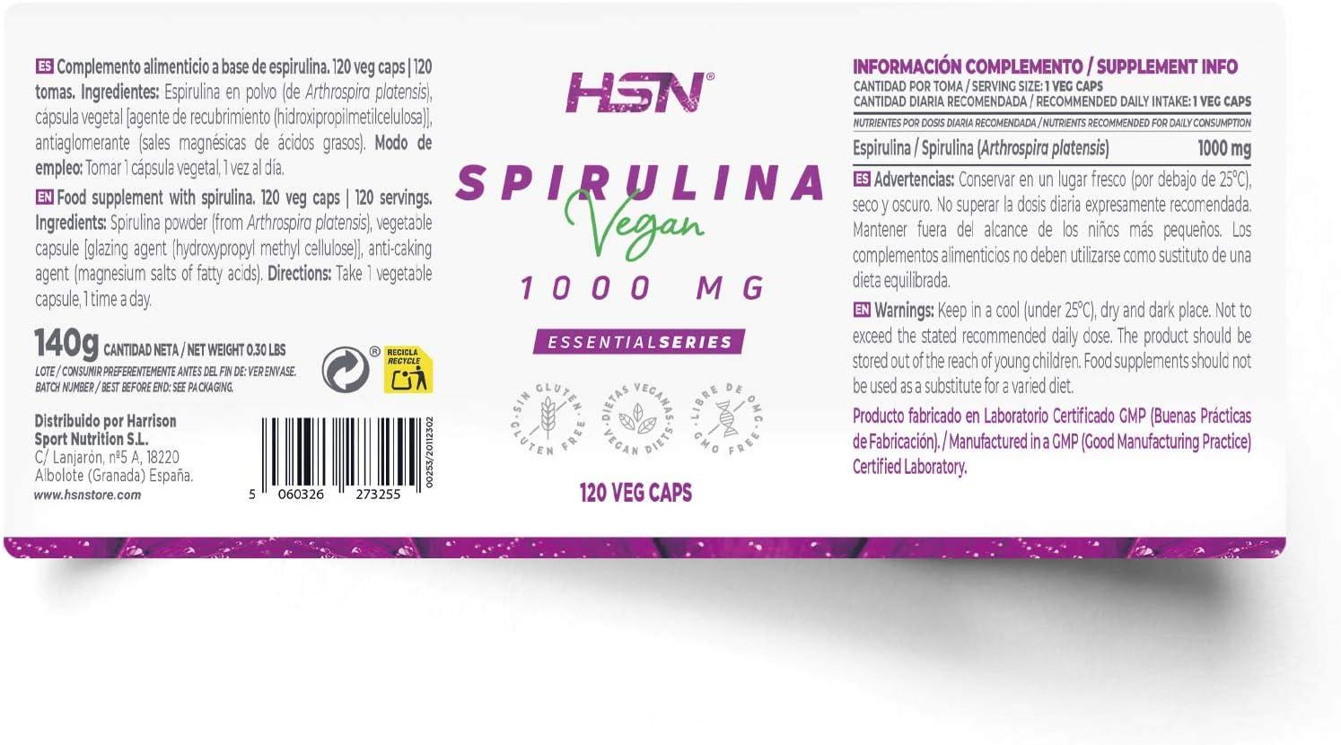 Espirulina 1000mg de HSN | A base de Algas, Reduce al Apetito, Aumenta tu Energía y Vitalidad, Antioxidante y Detoxificante | Vegano, Sin Gluten, Sin ...