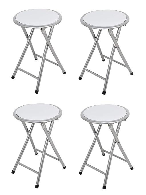 La Silla Española - Pack 4 Taburetes plegables fabricados en aluminio con asiento acolchado en PVC. Color blanco. Medidas 45x30x30, 4 unidades