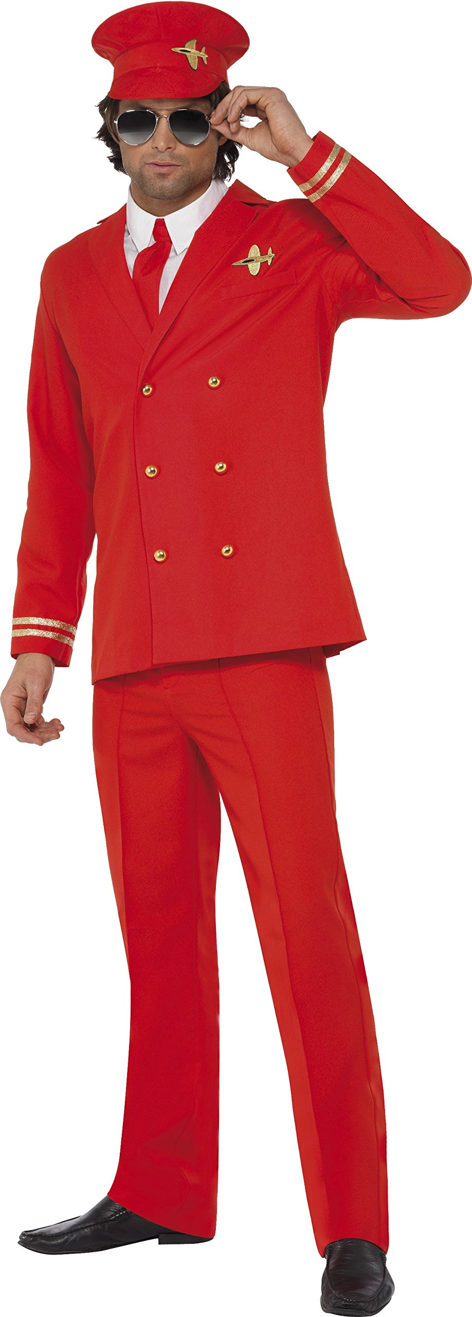 Smiffy's Men's High Flyer Costume with Jacket Trousers Hat and Shirt Front, Red, Medium