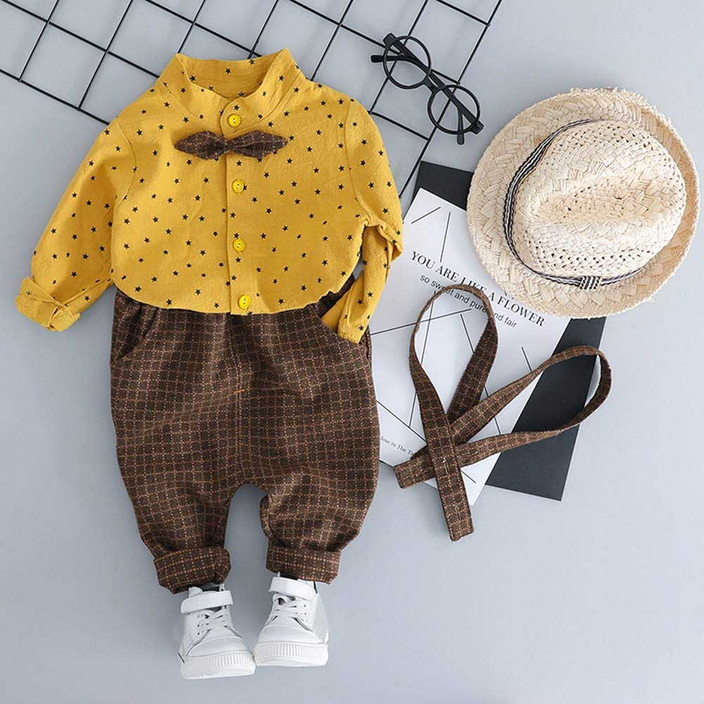 Sunbibe Baby Clothes Boys Handsome Gentleman Star Print T-Shirt with Bow-tie Top Solid Plaid Overall Pants Outfits
