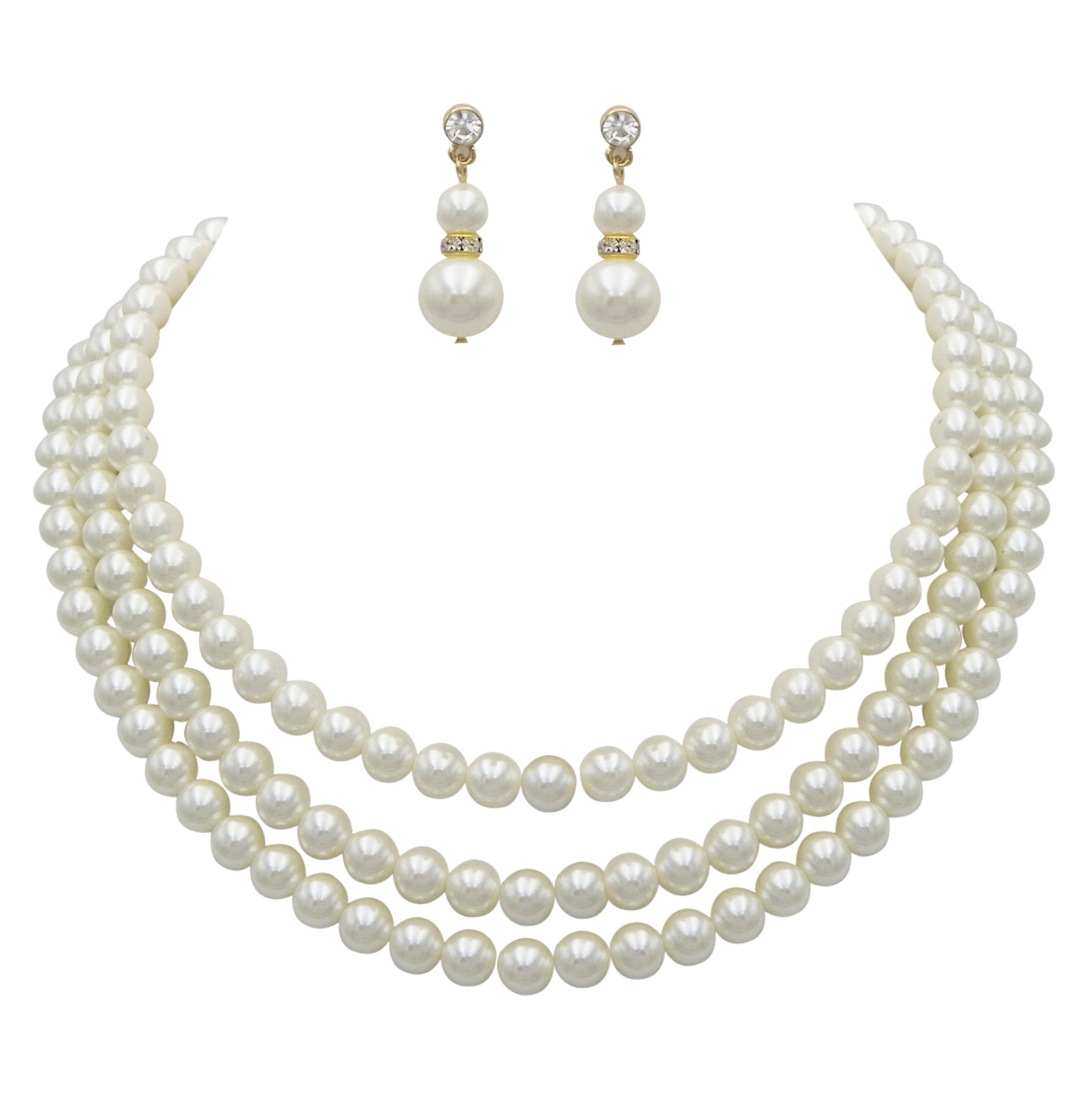 Rosemarie Collections Women's Multi Strand Classic Cream Faux Pearl Necklace and Earrings Jewelry Set