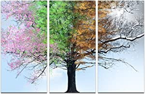 sechars 3 Panel Wall Art Four Seasons Tree in Sunshine Painting Canvas Print Large Colorful Tree Picture Artwork Giclee Print for Modern Home Living Room Decor Framed Ready to Hang