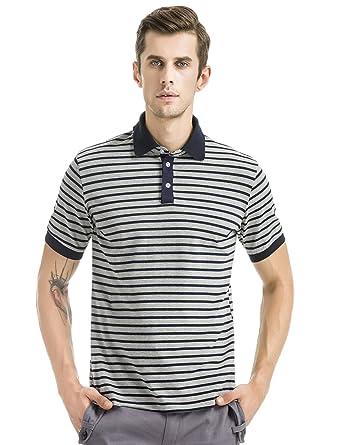 Men's classic striped polo short sleeve t-shirts-Gray-S