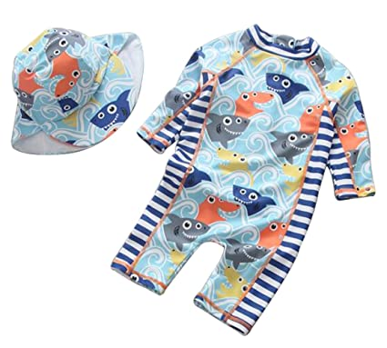 ce67c7ab07 Kids Baby Boy Summer Long Sleeve One Piece Rash Guard Swimsuit Sun  Protection Swimwear (Blue): Amazon.co.uk: Clothing