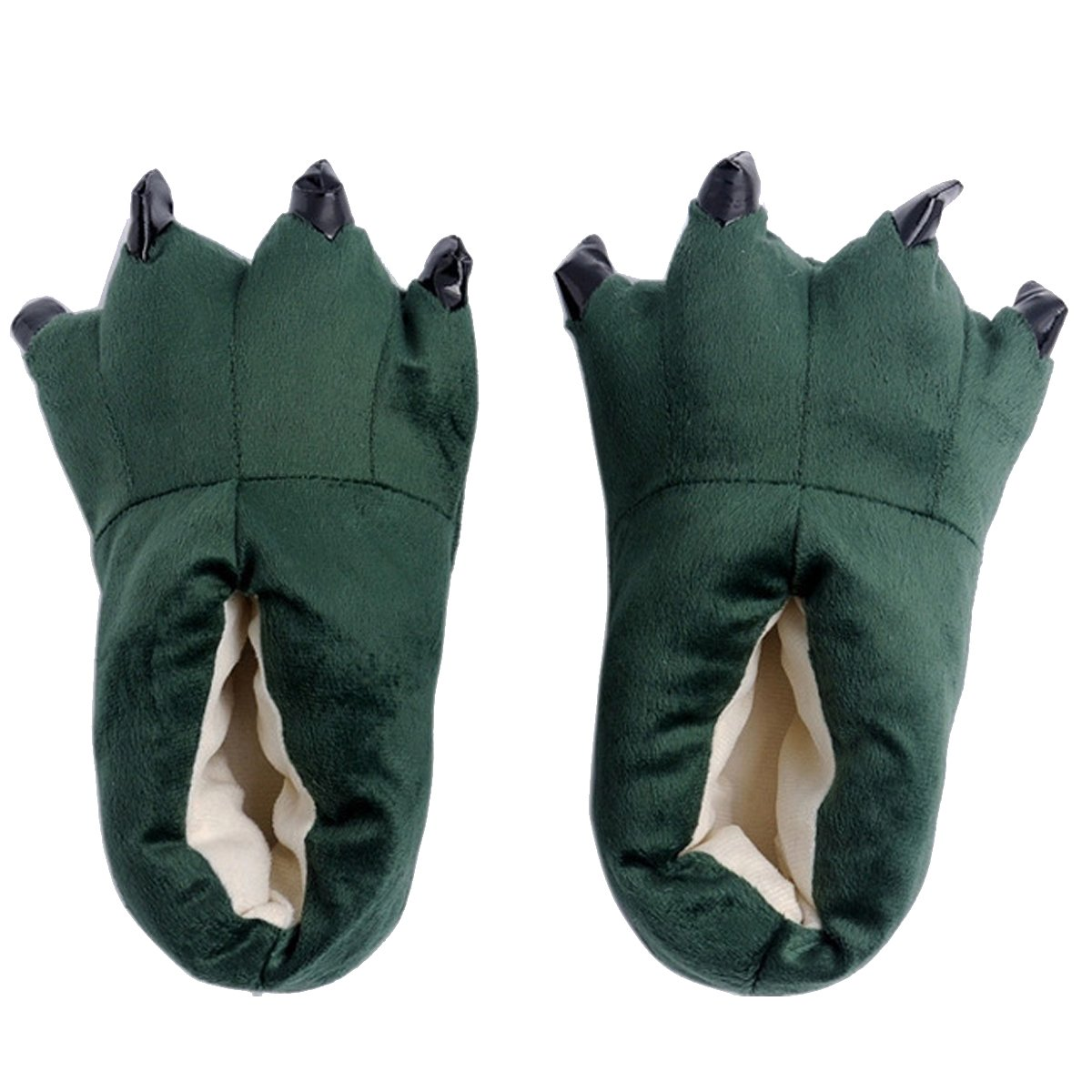 FashionFits Unisex Soft Plush Home Slippers Animal Costume Paw Claw Shoes Green L