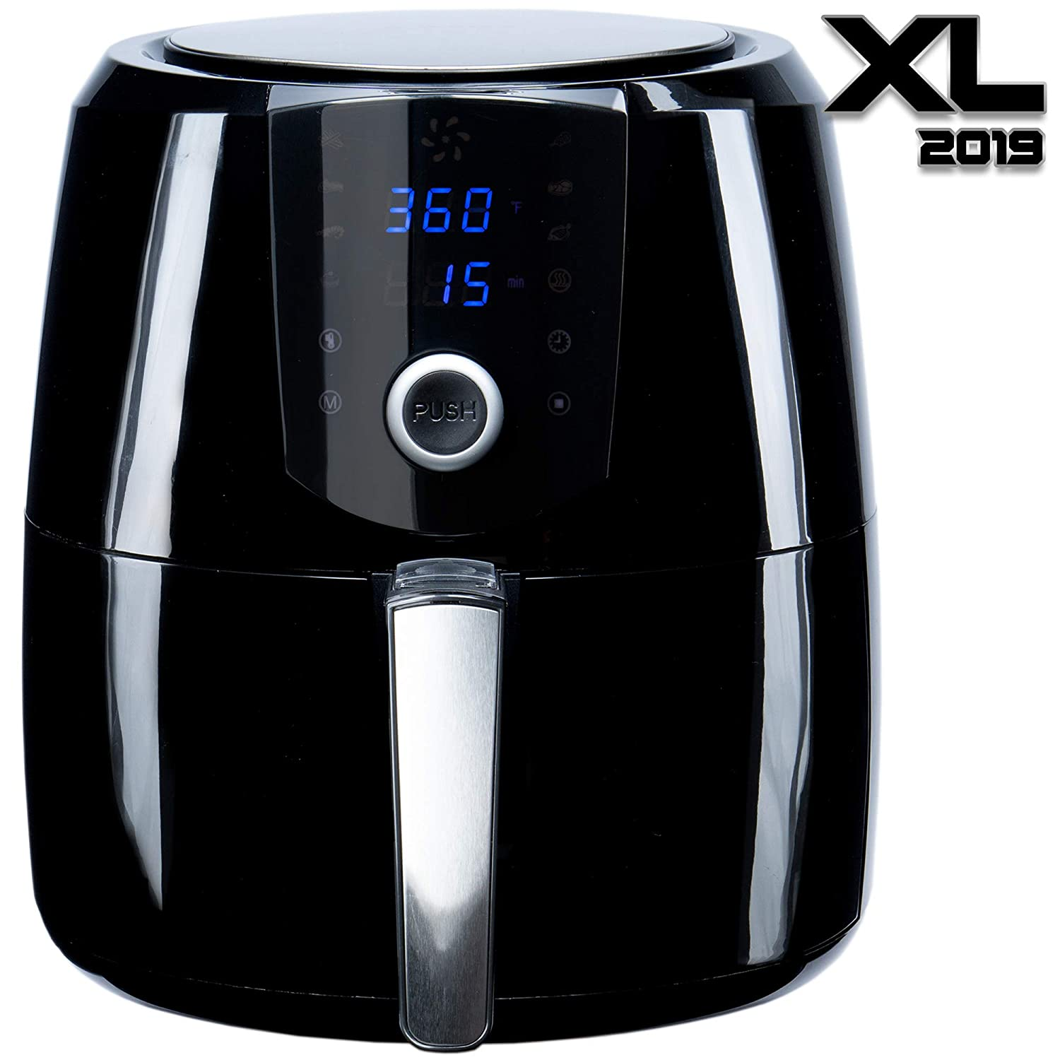 [2019] Air Fryer XL 5.5 QT Extreme Model 8-in-1 By (B. WEISS) Family Size Huge capacity,With Airfryer accessories; PIZZA Pan, (50 Recipes Cook Book),Toaster rack, Cooking Divider. XXL