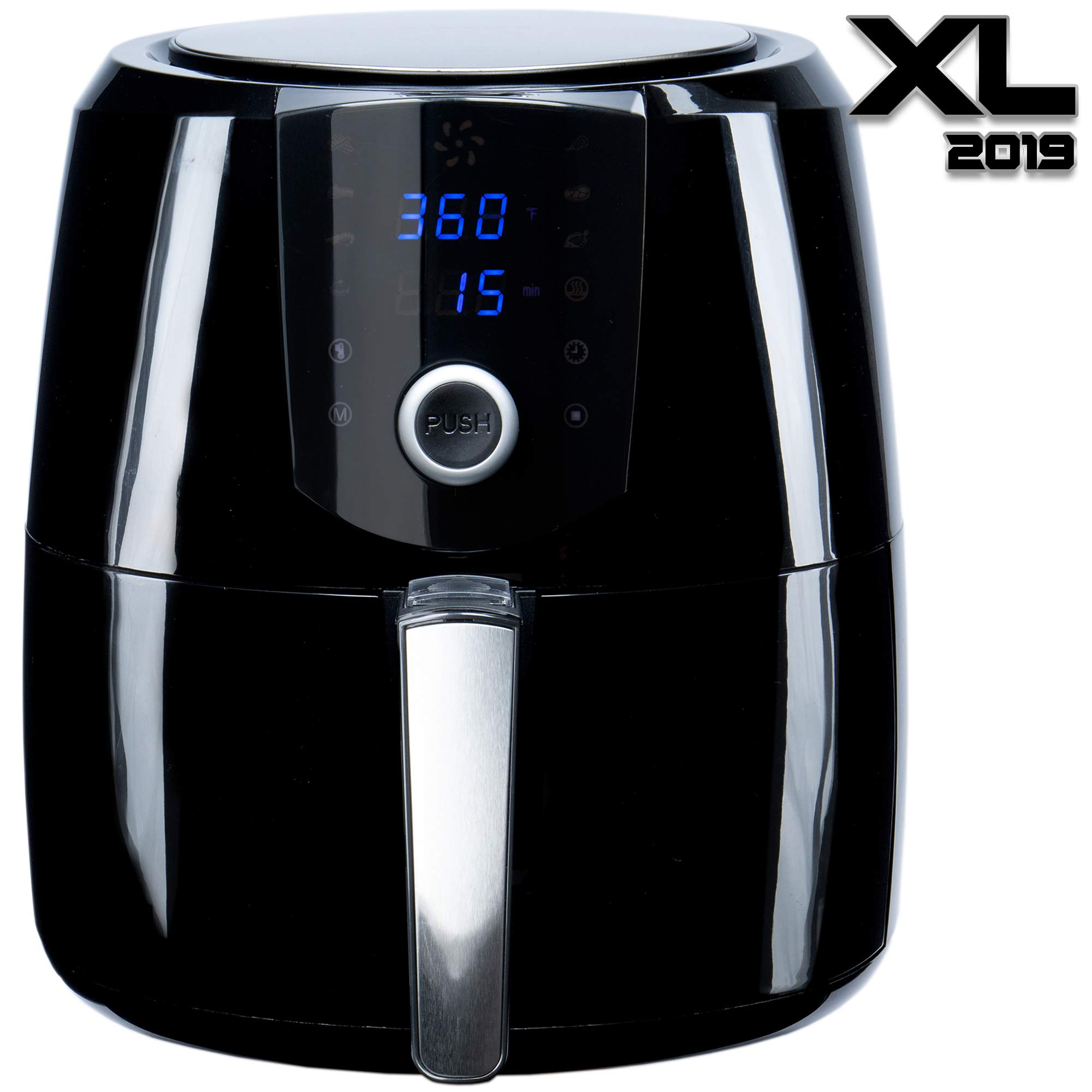 [2019] Air Fryer XL Best 5.5 QT Extreme Model 8-in-1 By (B. WEISS) Family Size Huge capacity,With Airfryer accessories; PIZZA Pan, (50 Recipes Cook Book),Toaster rack, Cooking Divider. XXL