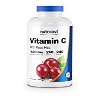 Nutricost Vitamin C with Rose Hips 1025mg, 240 Capsules - Vitamin C 1,000mg, Rose...