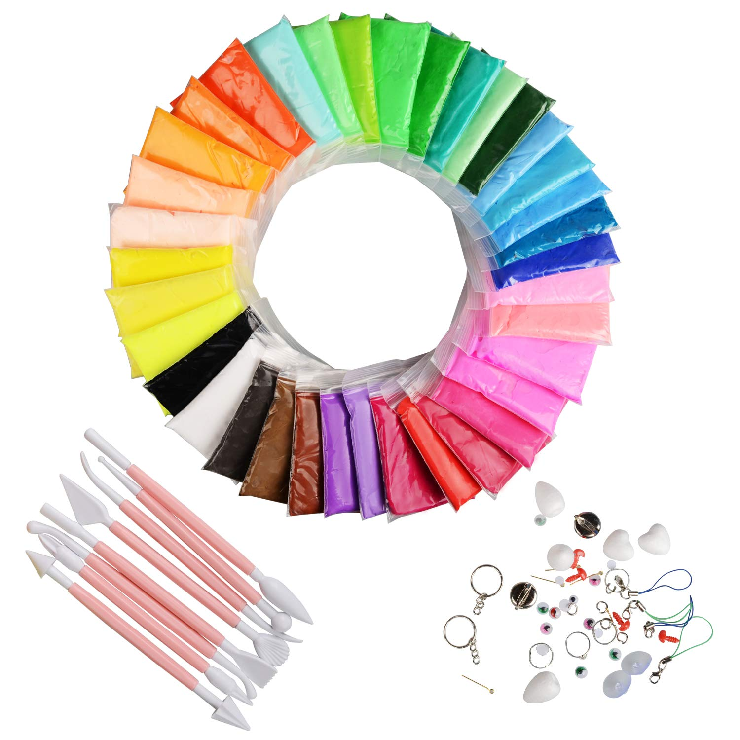 Hometall Modeling Clay Air Dry, 36 Colors DIY Ultra-light Molding Clay Soft Magic Plasticine Craft Toy with Tools, Best Kids Christmas Gifts (10oz/Pack) by Hometall